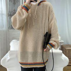 Little A - 條紋風帽毛衣