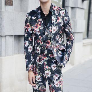 Besto - Set: Floral Print Blazer + Vest + Dress Pants