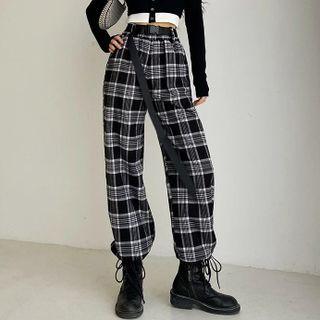 Florentine - Plaid Drawstring-Cuff Pants