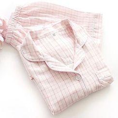 Dogini - Pajama Set: Plaid Short-Sleeve Shirt + Shorts