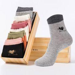 YiFFi - 五對套: 貓咪插色襪