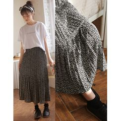 GOROKE(ゴロケ) - Pleated Floral Print Tiered Skirt