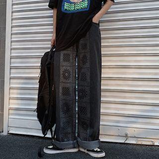 Shineon Studio - Printed Wide-Leg Jeans
