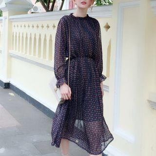 Lycoris - Print Long-Sleeve Midi Chiffon Dress