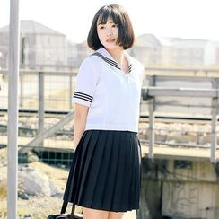 PONYPOBY - Sailor Collar Short-Sleeve Shirt