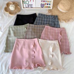 PUYE - Plain / Plaid Frilled Slim-Fit Skirt