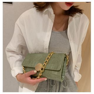 Fema - Chain Strap Crocodile Grain Handbag