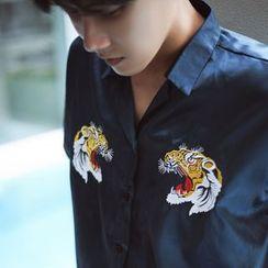 MRCYC - Short-Sleeve Embroidery Satin Shirt