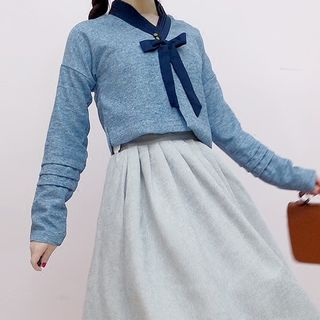 Tomoyo - Long-Sleeve Ribbon Neck Top / A-Line Midi Jumper Skirt