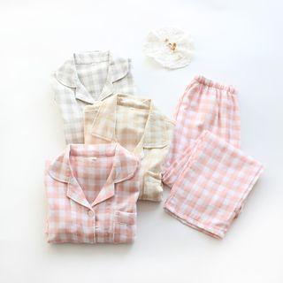 Dogini - Couple Matching Pajama Set: Plaid Shirt + Pants