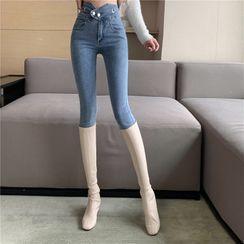 Miusee - 高腰窄身牛仔裤