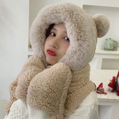 Pompabee - Chenille Hooded Scarf with Mittens