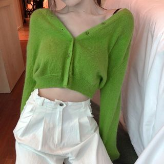 Rerise - Cárdigan corto con cuello en V / Pantalones anchos de tiro alto