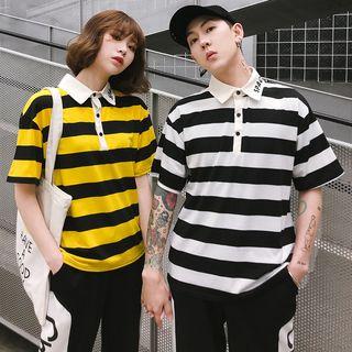 Bonne Nuit - Couple Matching Short-Sleeve Striped Polo Shirt / Lettering Sweatpants