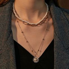 Mulyork - Faux Pearl Layered Necklace
