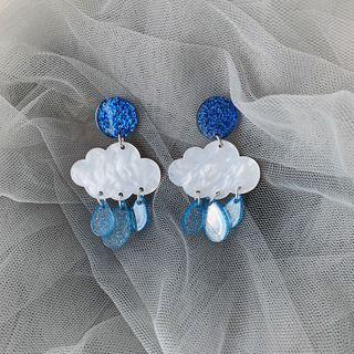Admae - 亚克力雨水云朵流苏耳环