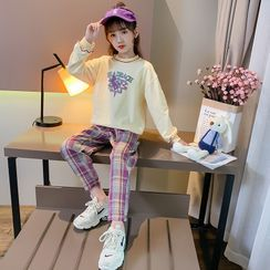 Qin Qin - Kids Set: Cartoon Print Pullover + Plaid Harem Pants