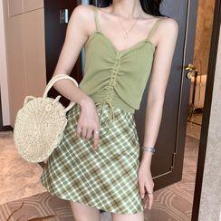 IKIO - 抽繩羅紋針織吊帶背心上衣 / 格紋A字裙 / 開衫