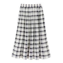 Kansha - Plaid Pleated Midi Skirt