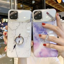 Inteyo - 大理石印花指环扣镜面手机保护套 - iPhone 11 Pro Max / 11 Pro / 11 / XS Max / XS / XR / X / 8 / 8 Plus / 7 / 7 Plus / 6s / 6s Plus