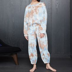 Cinni - 家居服套裝: 紮染印花長袖T裇 + 九分哈倫褲