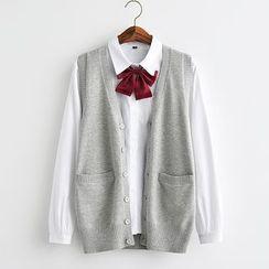 College Affair(カレッジアフェア) - Plain Knit Vest