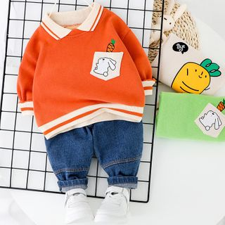 Mini Bae - Kids Set: Printed Collared Pullover + Cropped Harem Jeans