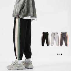 Passerine - High-Waist Drawstring Striped Sweatpants