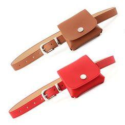 Leatha - Set: Faux Leather Belt + Waist Bag