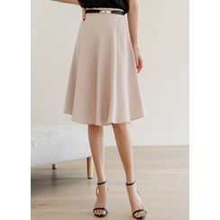 Styleonme(スタイルオンミー) - Zip-Side Midi Flare Skirt