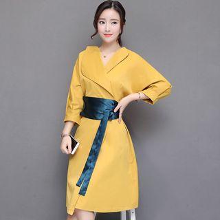 Sienne - 3/4-Sleeve Lapel Wrapped Ribbon-Waist A-Line Dress