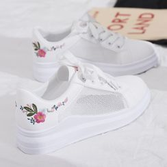 Fromhere - Embroidered Lace Up Sneakers