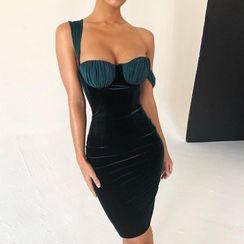 Alizio - One-Shoulder Sheath Velvet Dress