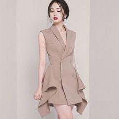 Alberlino - Sleeveless Double Breasted Mini Coat Dress