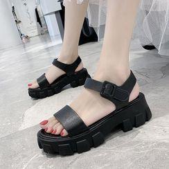 Asterisk - Platform Block Heel Ankle Strap Sandals