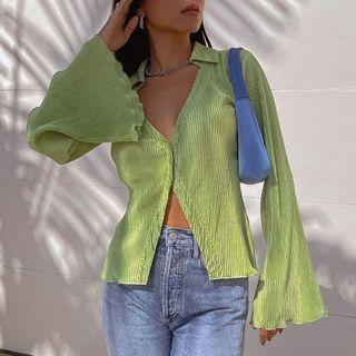 Sosana - Bell-Sleeve V-Neck Lettuce Hem Pleated Shirt