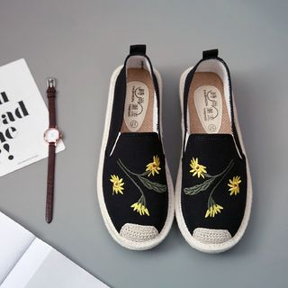 Shusi - Floral Embroidered Slip-Ons
