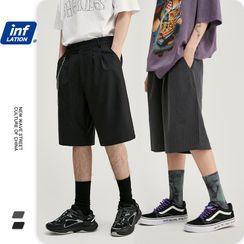 Newin - 男女款條紋闊腿西裝短褲