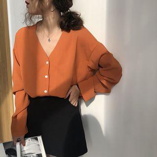 IndiGirl - V领宽松长袖雪纺衬衫