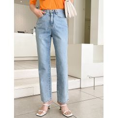 J-ANN - Distressed Straight-Leg Jeans