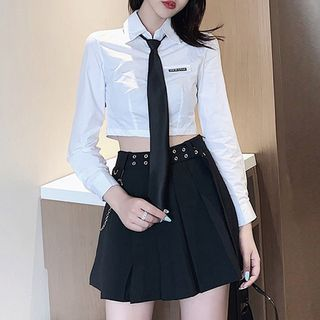 PokkaMoma - Crop Shirt / Tie / Pleated Skirt / Chain / Set