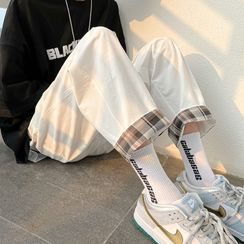 Newise(ニュワイズ) - Plaid Panel Cropped Straight Leg Pants