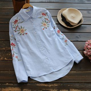 YOYO - Floral Embroidery Shirt