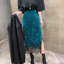 Pomona - Midi Velvet Lace Skirt