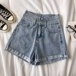DIYI - Denim High-Waist Shorts