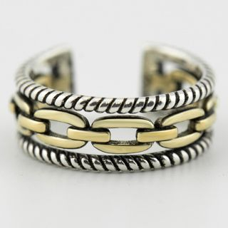 CHOSI - 925 Sterling Silver Layered Chain Open Ring