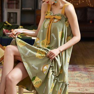 Jeony - Printed Sleeveless Sleep Dress