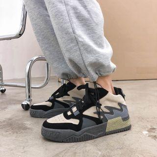 Lazi Boi - Color Block High-Top Lace-Up Sneakers