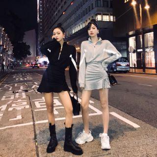 Street of Seoul - 抽繩條紋長袖迷你T裇裙