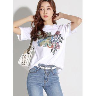 Styleonme - Letter Flower-Printed T-Shirt